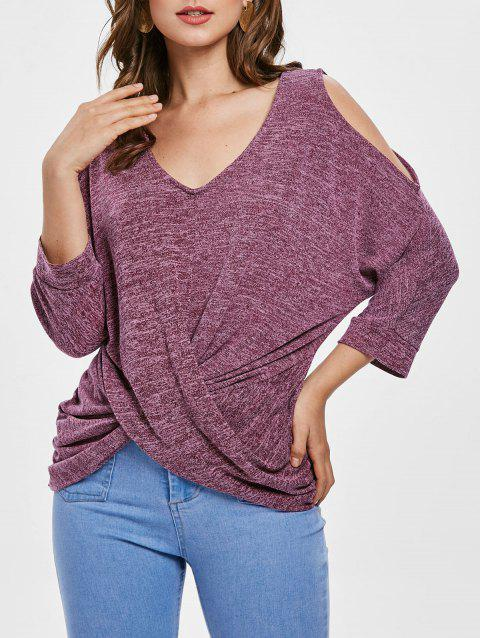 Front Knot V Neck Knitwear - ROSE RED 2XL