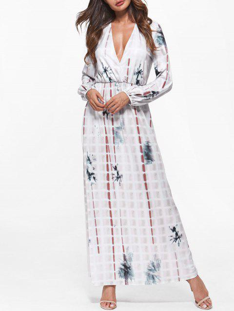 Plunging Neck Tie Dye Long Dress - COOL WHITE S