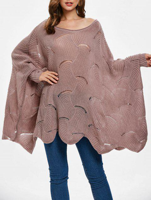 04701f702e 17% OFF  2019 Wave Hem Batwing Sleeve Sweater In LIPSTICK PINK ...