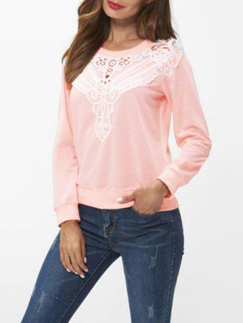 Lace Insert Long Sleeve Sweatshirt - LIGHT PINK M