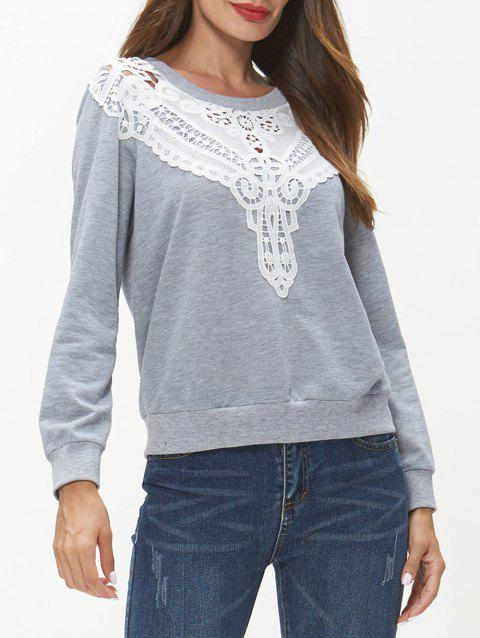 Lace Insert Long Sleeve Sweatshirt - LIGHT GRAY 2XL