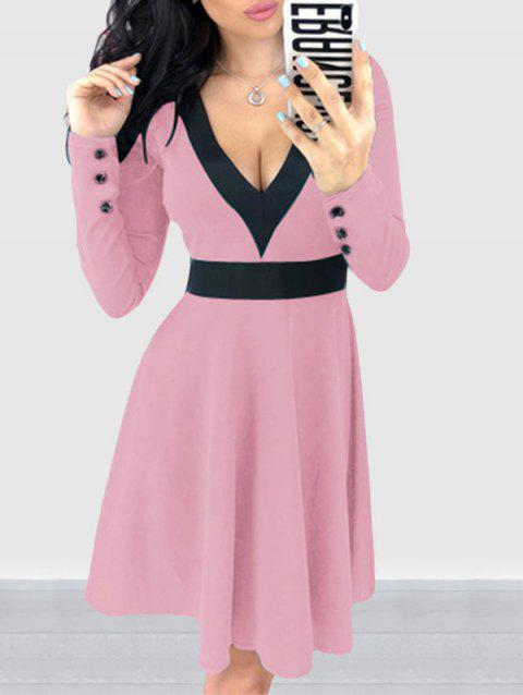 Two Tone V Neck A line Dress - PIG PINK L