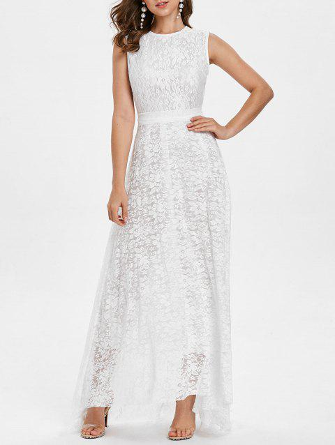 High Low Hem Belted Lace Dress - WHITE L