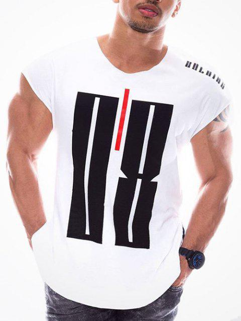 Geometry Letters Print Casual T-shirt sans manches - Blanc XS