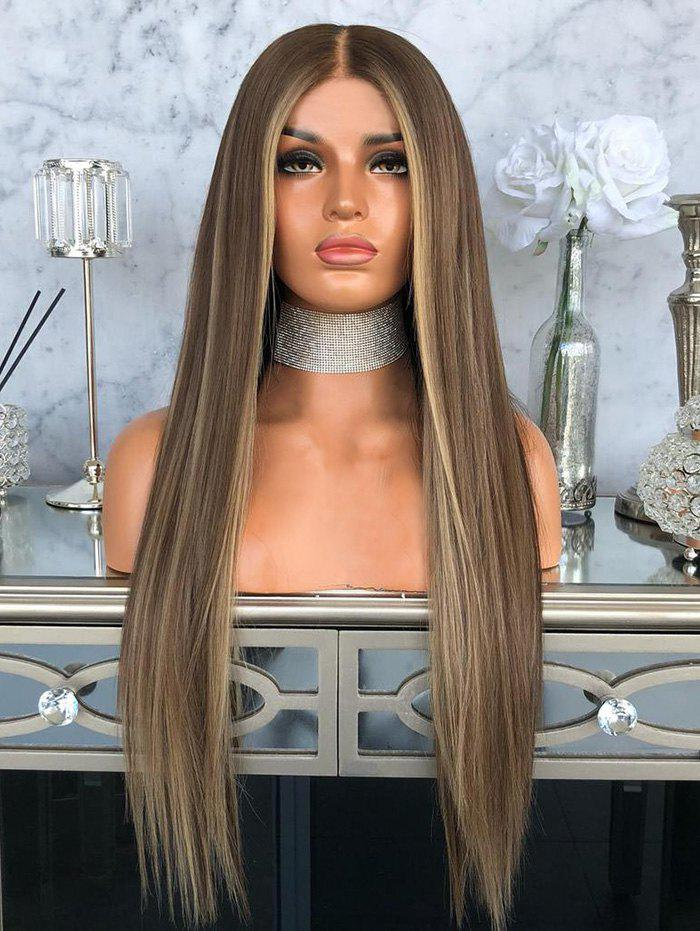 Middle Part Long Highlighted Straight Party Synthetic Wig - multicolor 26INCH