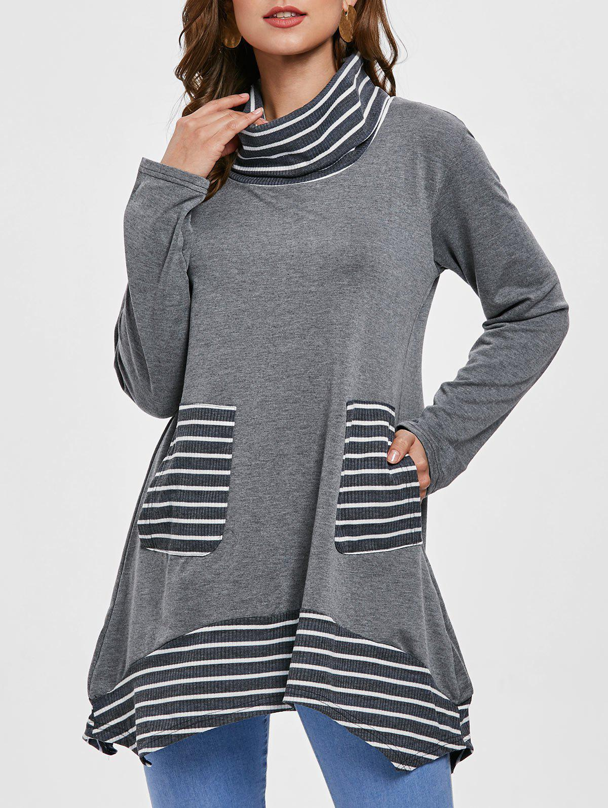 Stripe Panel Long Sleeve Turtleneck T-shirt