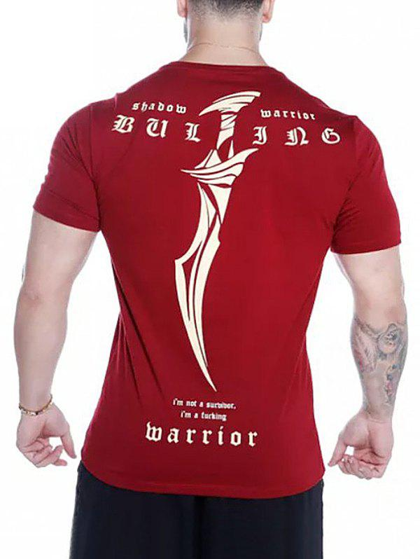 Sword Letters Print Short Sleeves T-shirt - RED WINE XS