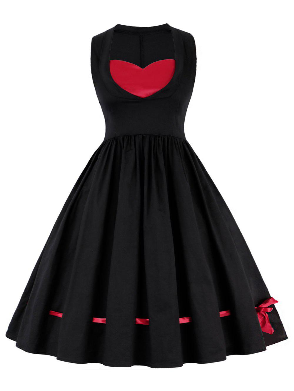 Vintage A Line Contrast Dress, Black