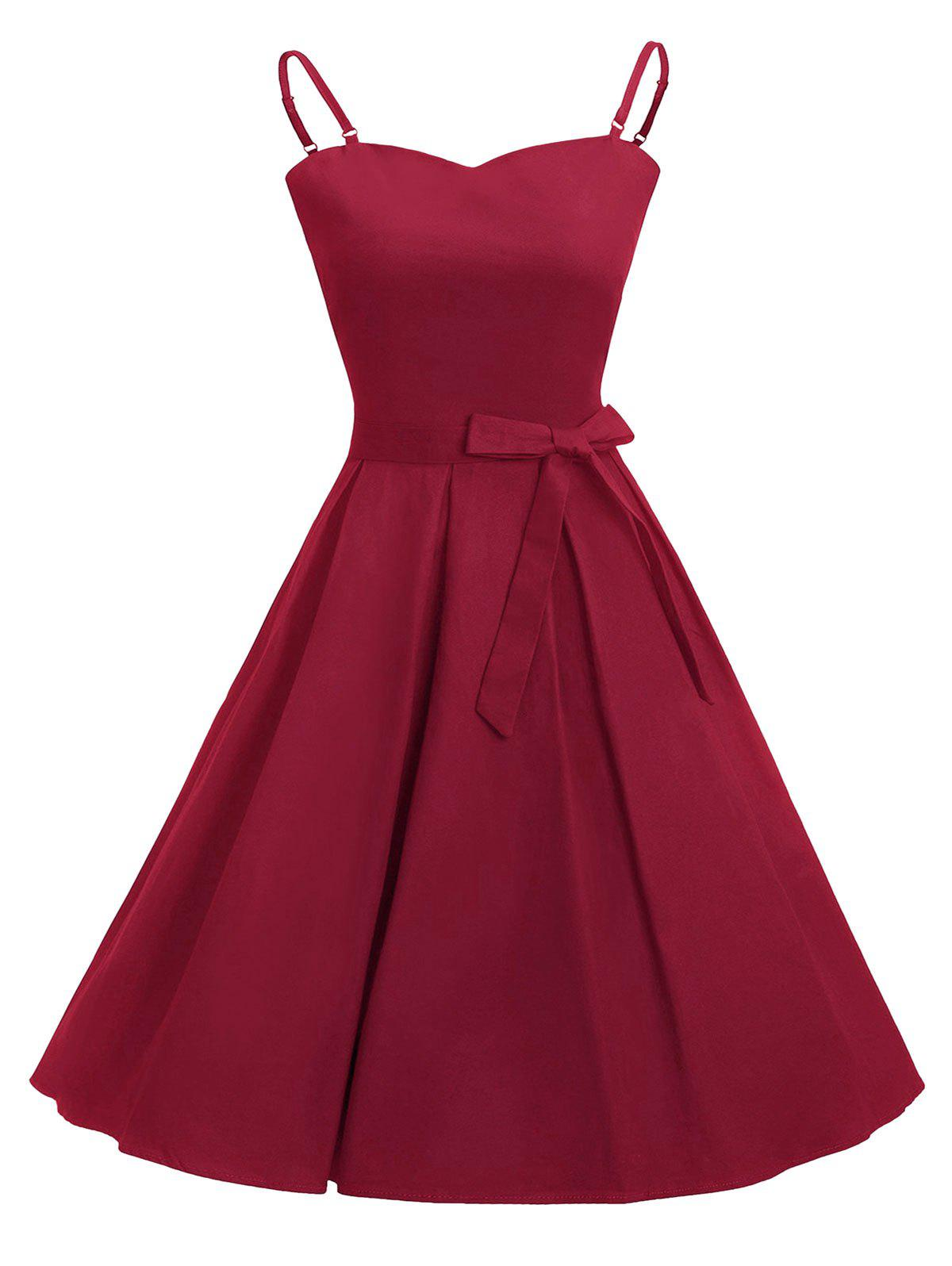 Spaghetti Strap Belted Rockabilly Style Vintage Dress - RED WINE M