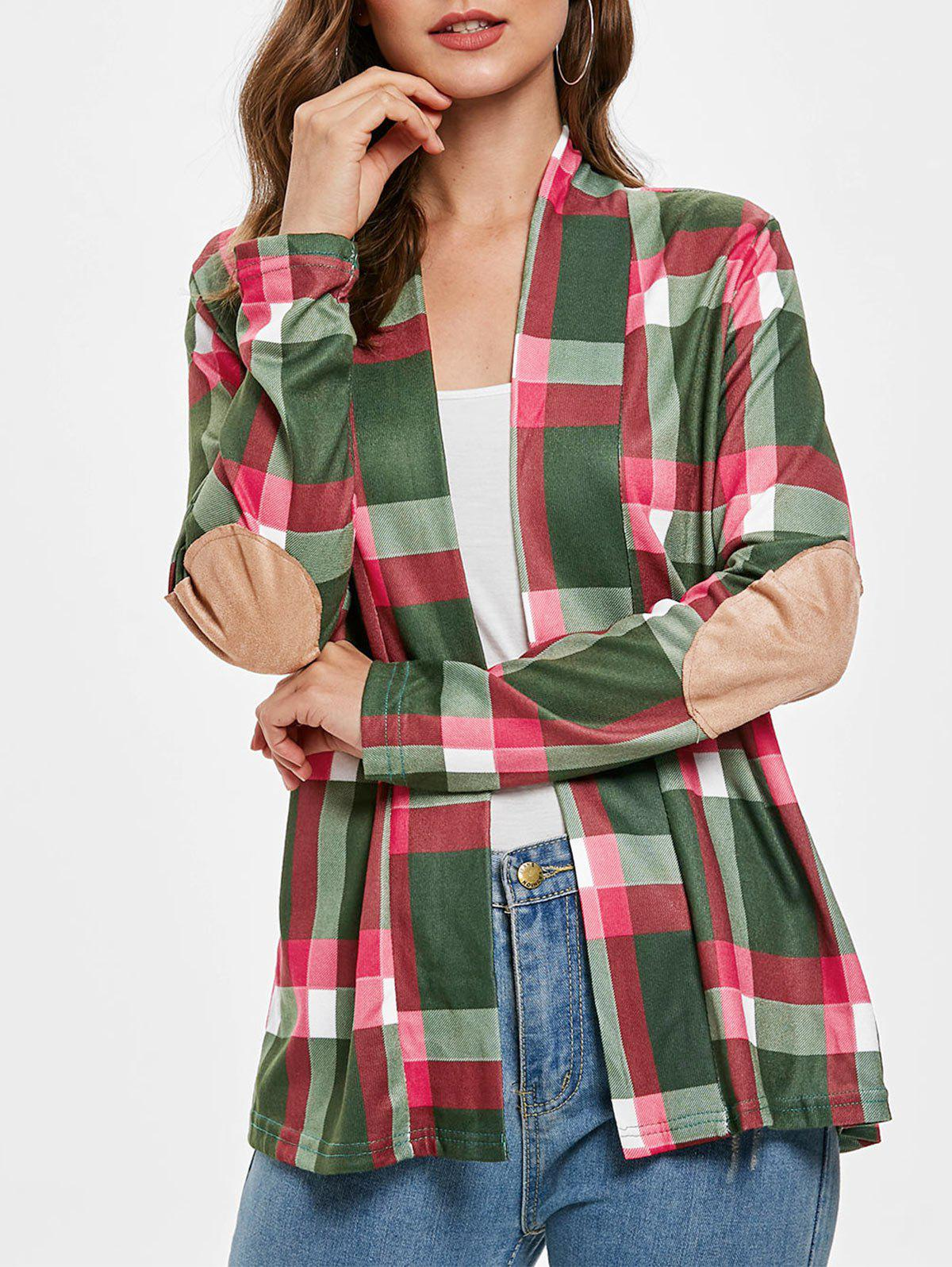 Plus Size Open Front Plaid Cardigan - MEDIUM FOREST GREEN S