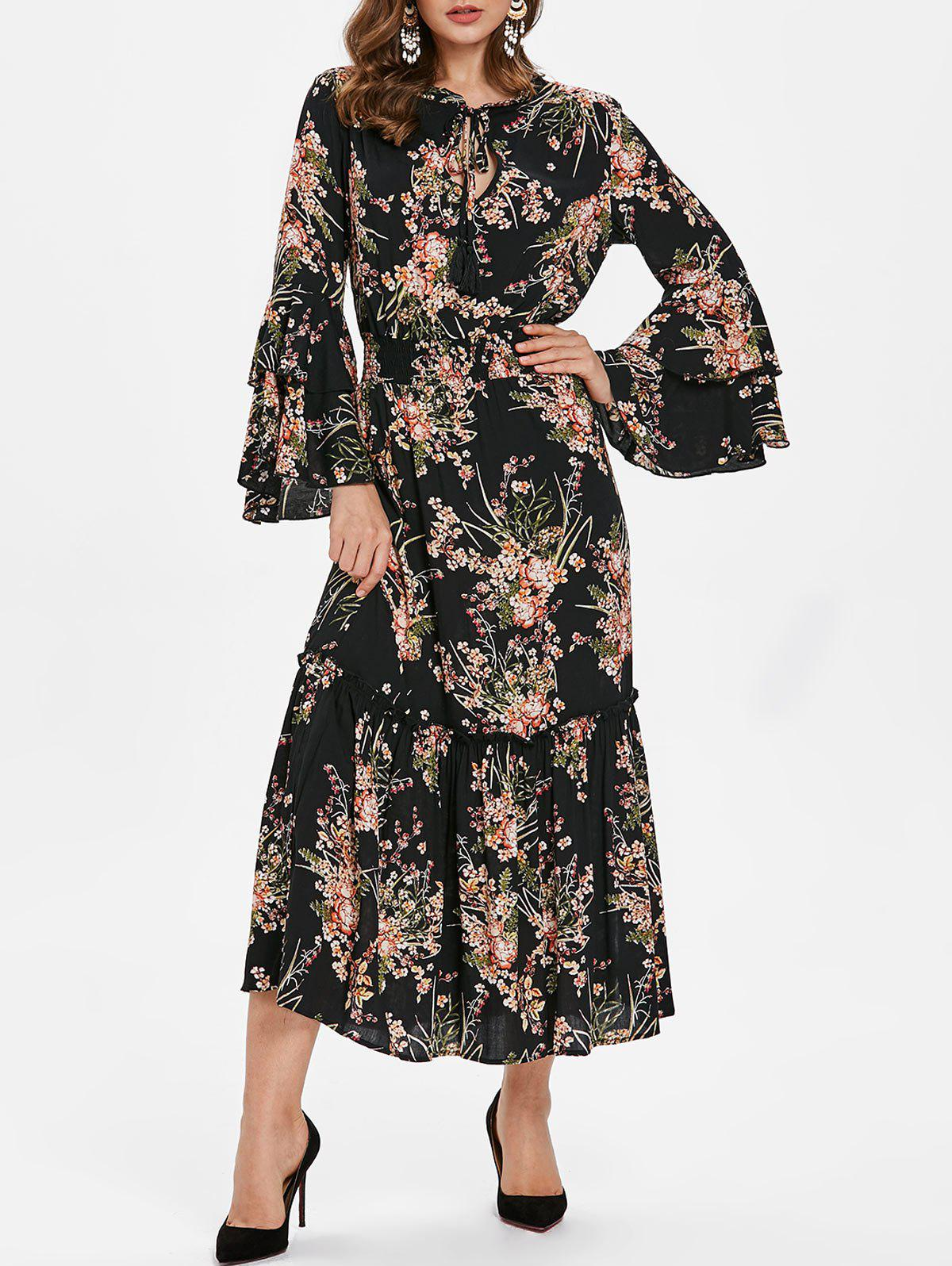 Flare Sleeve Tiny Floral Print Long Dress - BLACK M