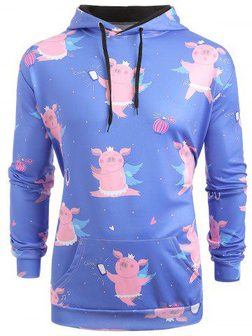 Cartoon Pig Pattern Kangaroo Pocket Hoodie