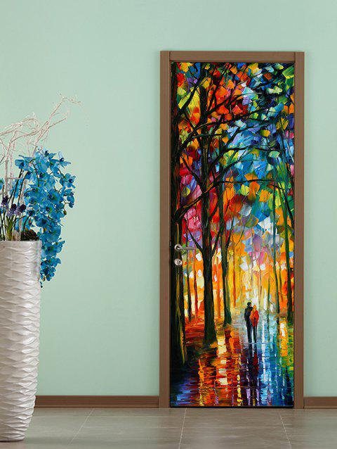 Forest Painting Print Door Art Stickers - multicolor 2PCS X 18 X 79 INCH