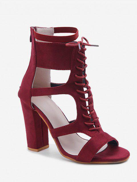 Lace Up Ankle Strap Heeled Sandals - RED WINE EU 39