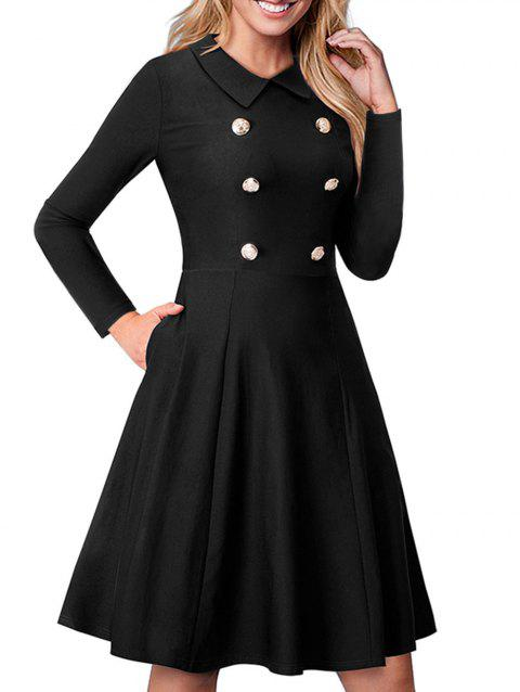 Turn Down Collar Button A Line Dress - BLACK M