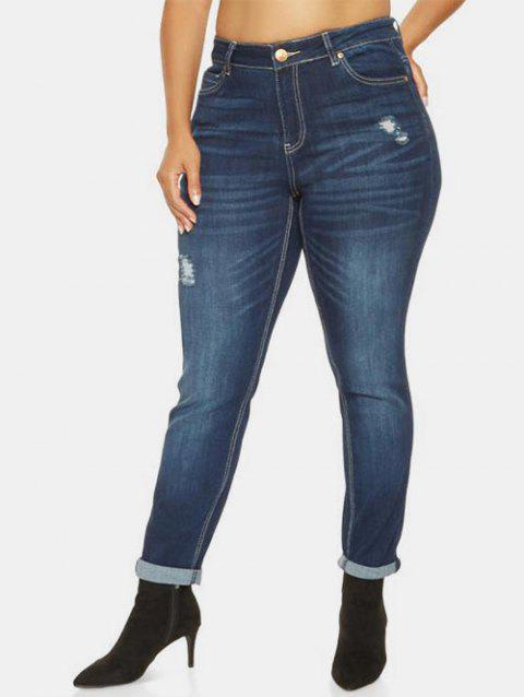 High Rise Ripped Plus Size Jeans - LAPIS BLUE 2X
