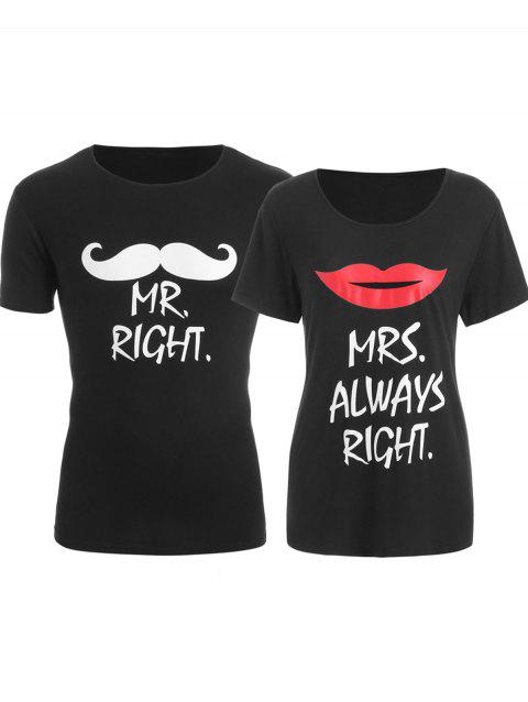 Matching Couple Graphic Valentine's Day T Shirt - BLACK MEN 2XL