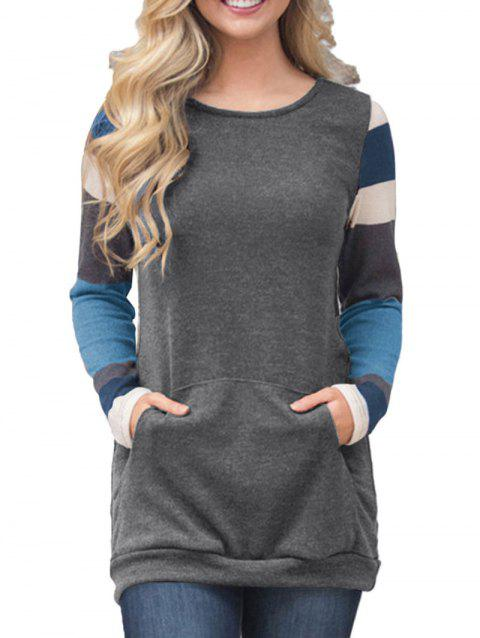 Round Neck Striped Casual Top - CARBON GRAY XL