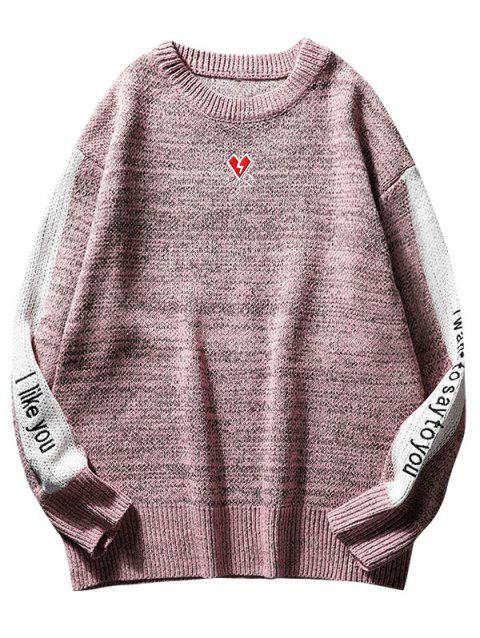 Contrast Letter Heart Embroidery Knit Sweater - PINK S