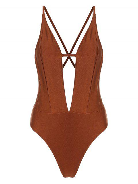 Plunge Criss Cross Open Back One Piece Swimsuit - CHERRY RED M