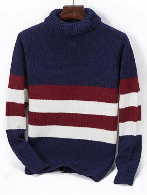 Casual Turtleneck Contrast Striped Knit Sweater - CADETBLUE S