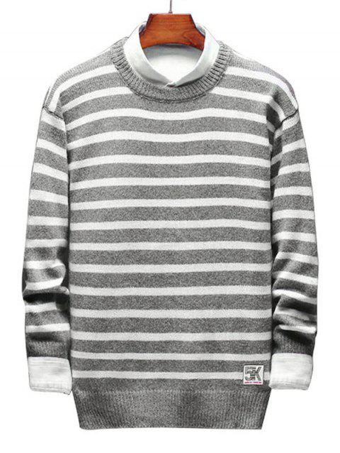 Contrast Horizontal Stripe Pullover Knit Sweater - GRAY S