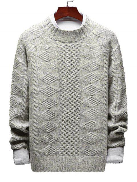 Casual Geometric Cable Knit Sweater - WARM WHITE S