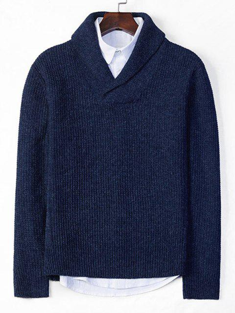 Solid Shawl Collar Casual Knit Sweater - DEEP BLUE XS