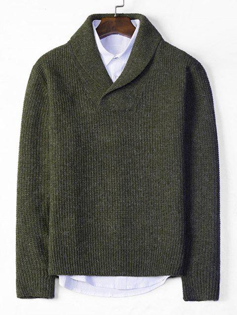Solid Shawl Collar Casual Knit Sweater - ARMY GREEN XS