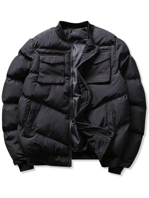 Solid Flap Pockets Puffer Bomber Jacket - BLACK XS