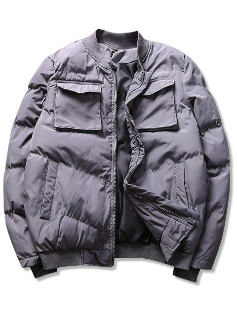 Solid Flap Pockets Puffer Bomber Jacket - GRAY M