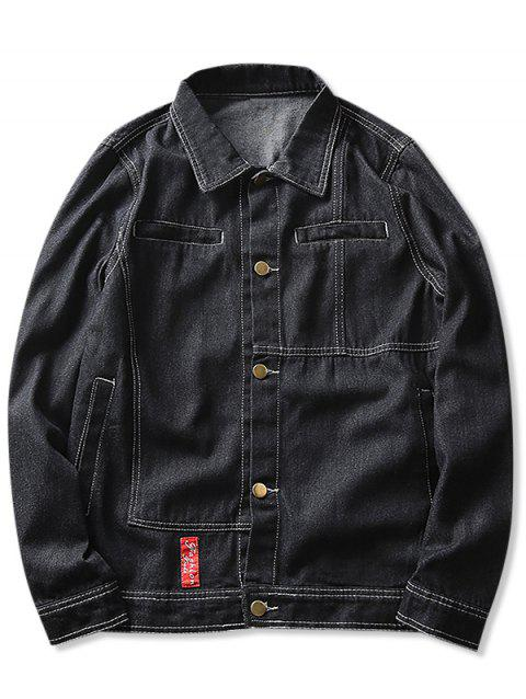 Faux Pocket Contrast Stitched Denim Jacket - BLACK XS