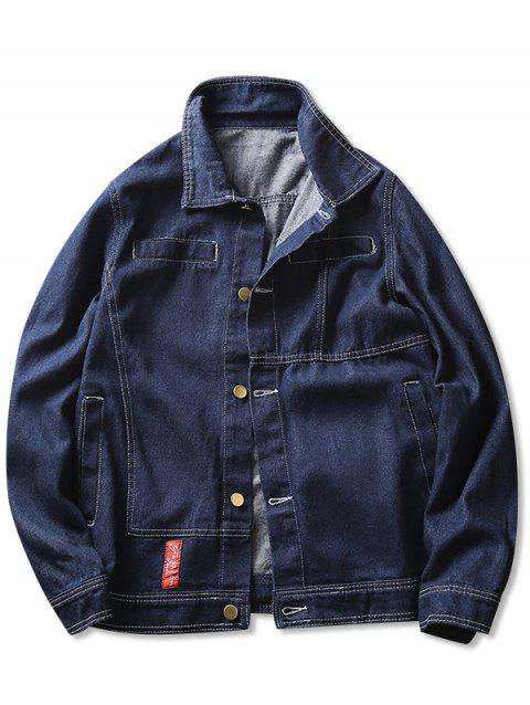 Faux Pocket Contrast Stitched Denim Jacket - BLUE M