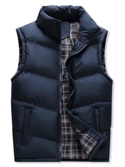 Winter Zipper Pockets Solid Puffer Waistcoat - DEEP BLUE XL