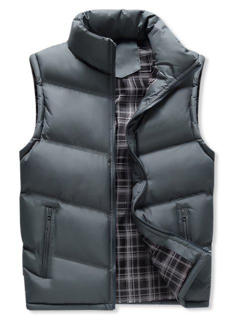 Winter Zipper Pockets Solid Puffer Waistcoat - GRAY M