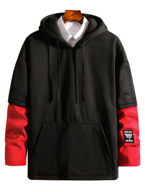 Contrast Patchwork Detail False Two Piece Fleece Hoodie - RED S