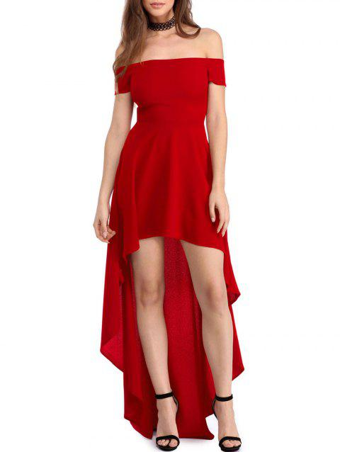 Short Sleeve High Low Hem Flare Dress - RED M