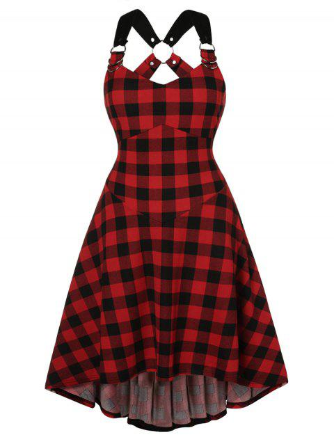 Plus Size Plaid O Ring High Low Dress - RED WINE 1X