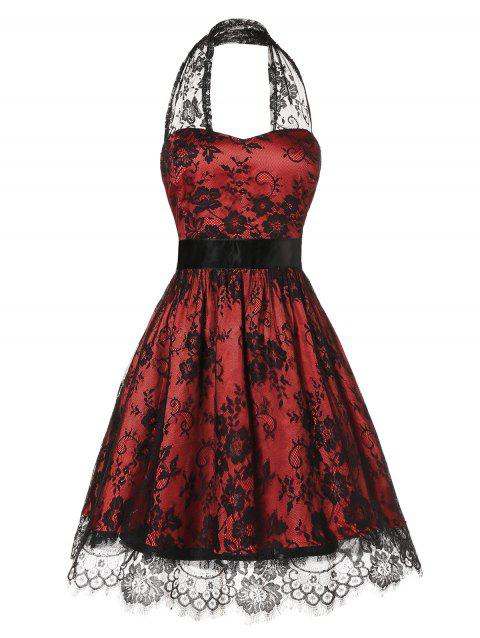 Plus Size Halter Lace Insert Backless Party Dress - RED WINE L