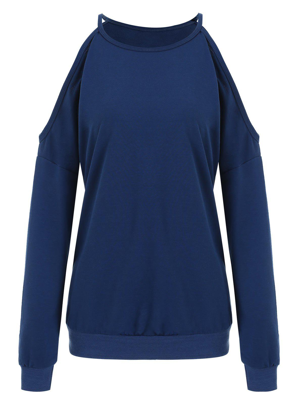 Plain Cold Shoulder Sweatshirt - BLUE L