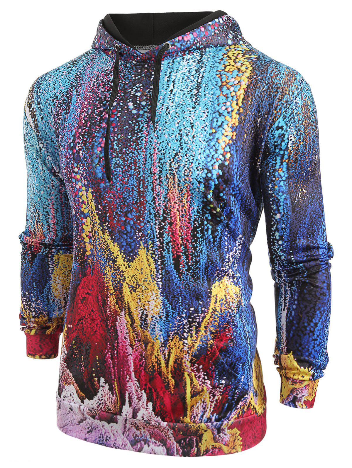 Abstract Pattern Kangaroo Pocket Hoodie - multicolor XL