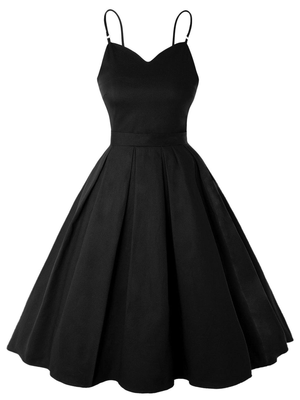 Spaghetti Strap Belted Rockabilly Style Vintage Dress - BLACK M