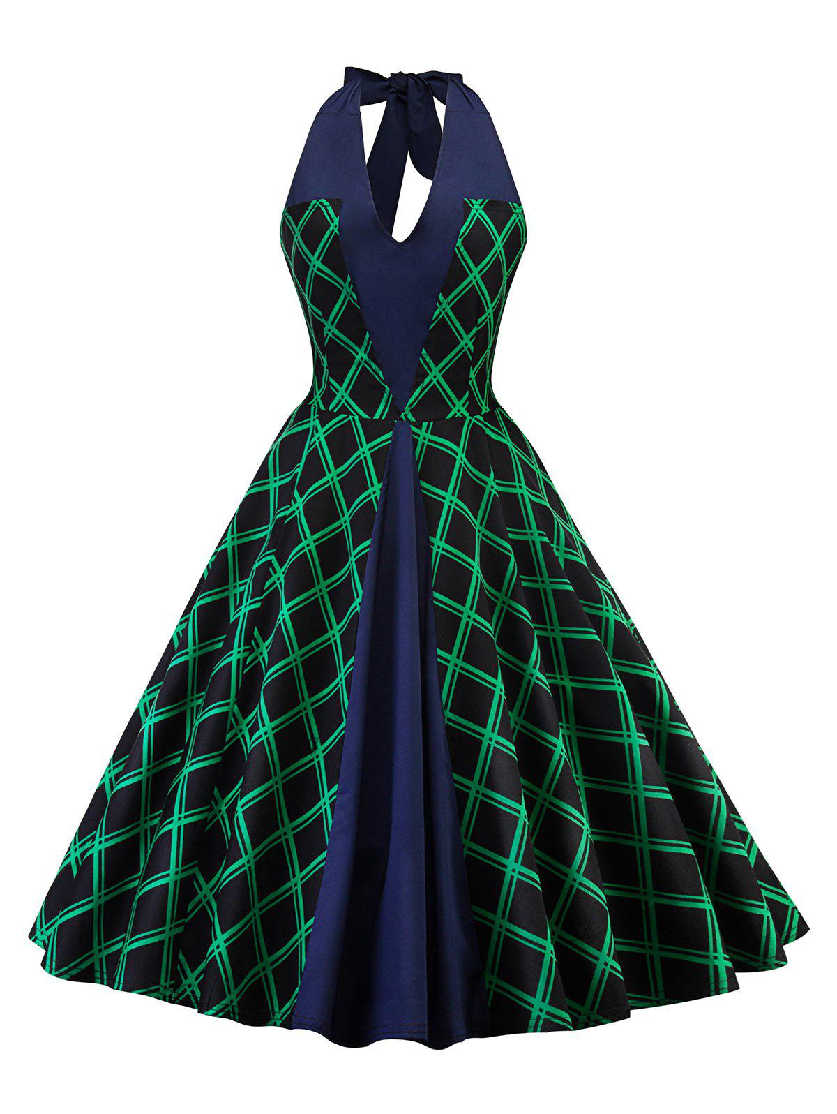 Halter Neck Checked Panel A Line Dress - SHAMROCK GREEN S