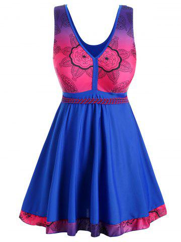 Plus Size V Neck Floral Print Skirted Tankini Set