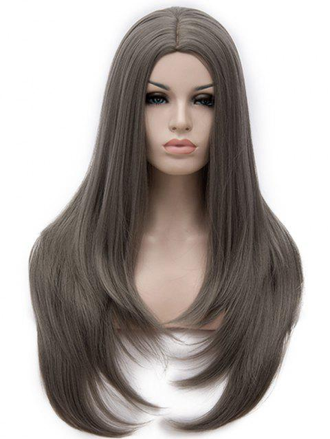 Center Parting Long Tail Adduction Straight Capless Synthetic Wig - GRAY