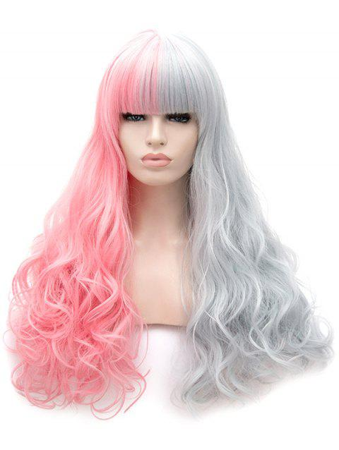 Neat Bang Long Two Tone Colorful Wavy Synthetic Wig - multicolor