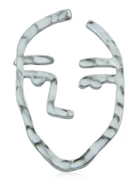 Face Pattern Hollowed Brooch - SILVER