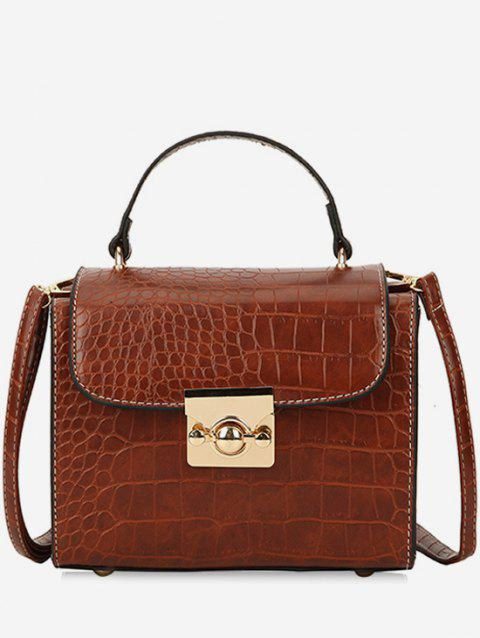 Textured Square Shape Shoulder Bag - BROWN