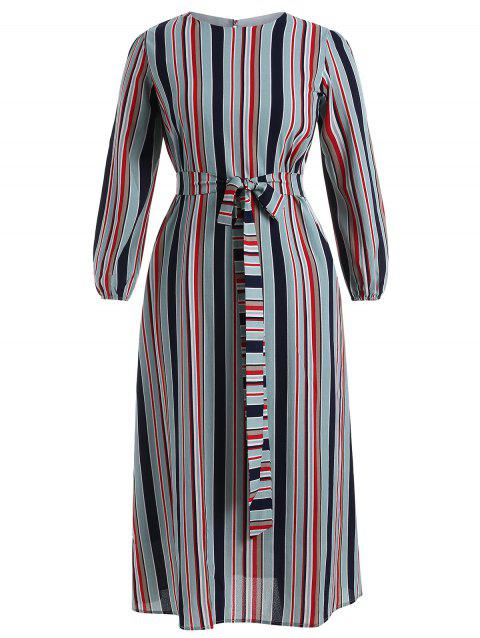 Plus Size Striped Belted Long Dress - multicolor A 1X