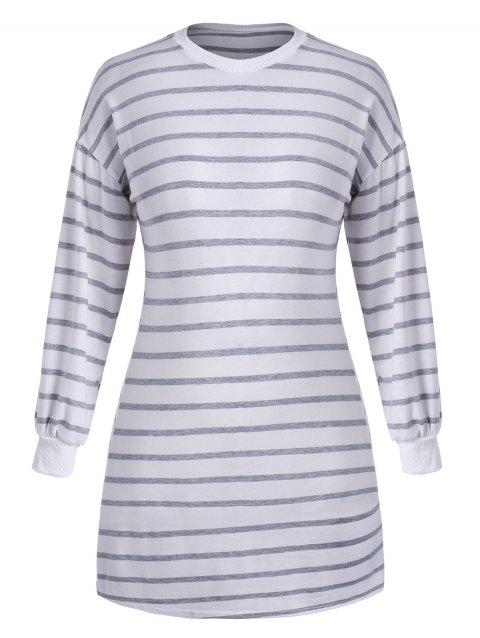 Plus Size Striped Mini Tee Dress - WHITE L